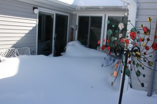 Snow drift on patio