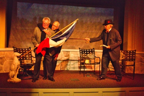 3 men and flag